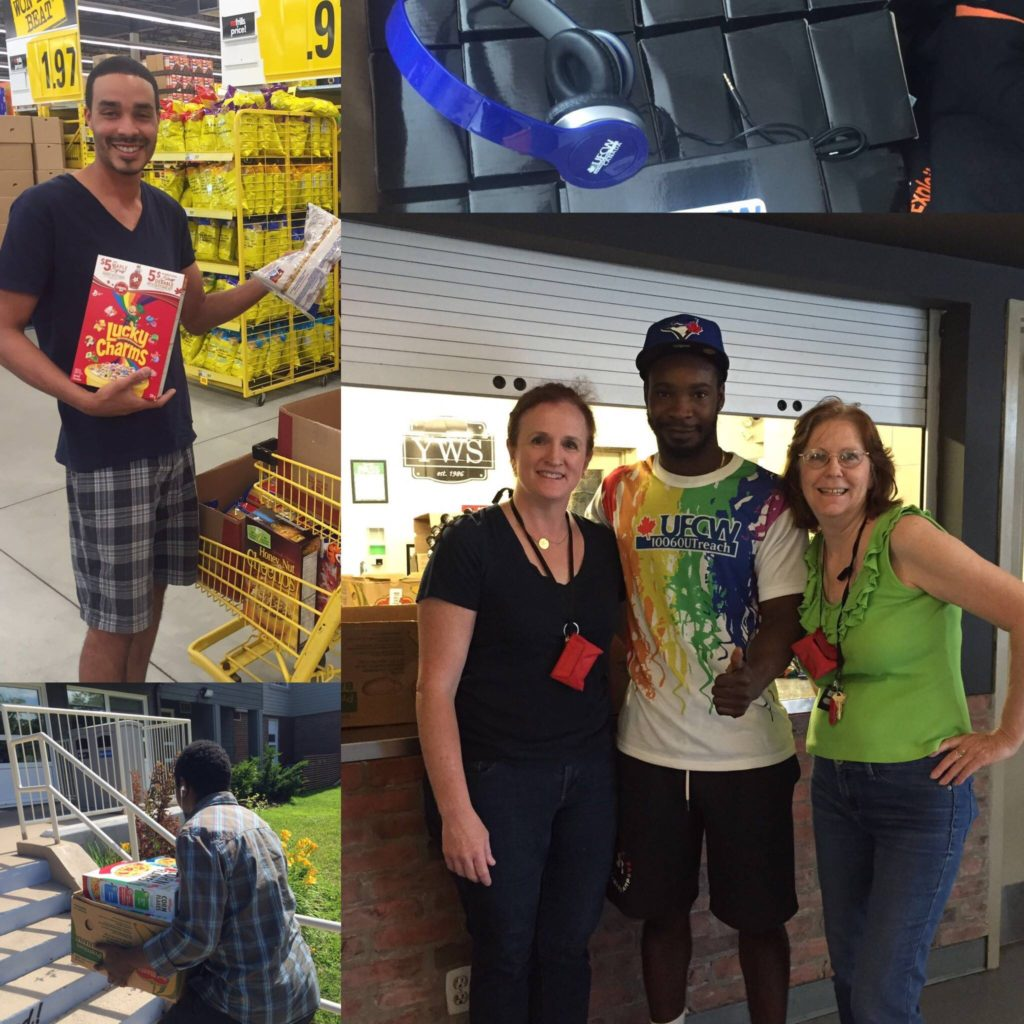 Sometimes having fun means helping out. UFCW Local 1006a member Rechev Browne brought together co-workers at Jim's No Frills to donate food and UFCW Canada headphones for Youth Without Shelter (YWS).