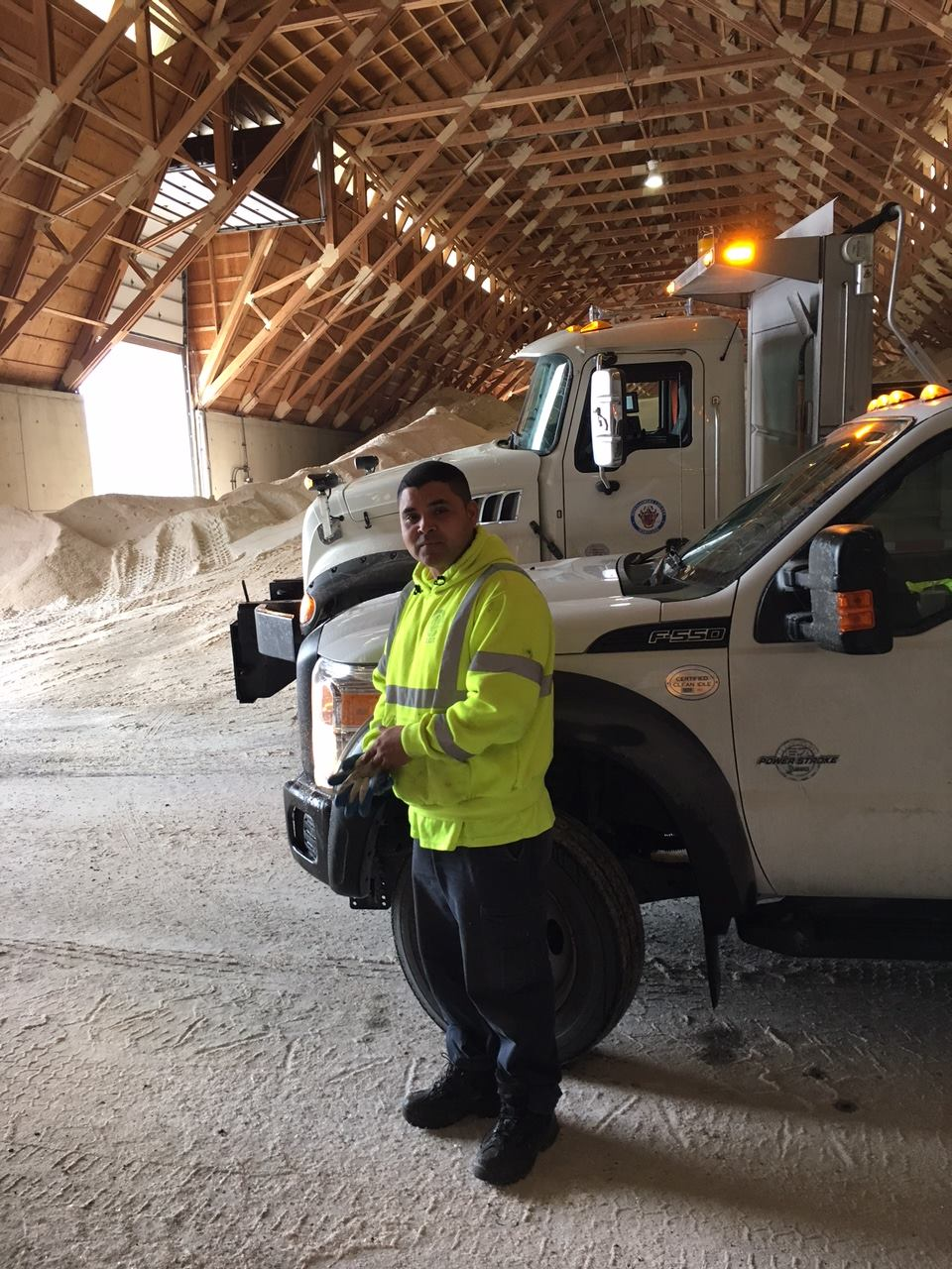 UFCW Local 1994 member stands in a building full of road salt