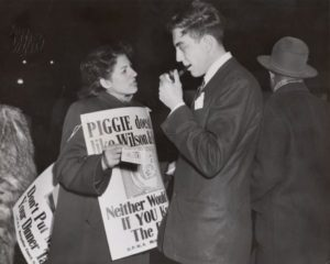 Vi Slovin, an employee of the United Packinghouse Workers District One office in Chicago, working after hours to distribute leaflets about the Wilson & Co. strike to passers-by.