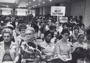 Delegates from the Amalgamated Meat Cutters and Butcher Workmen union at the convention of the Coalition of Labor Union Women.
