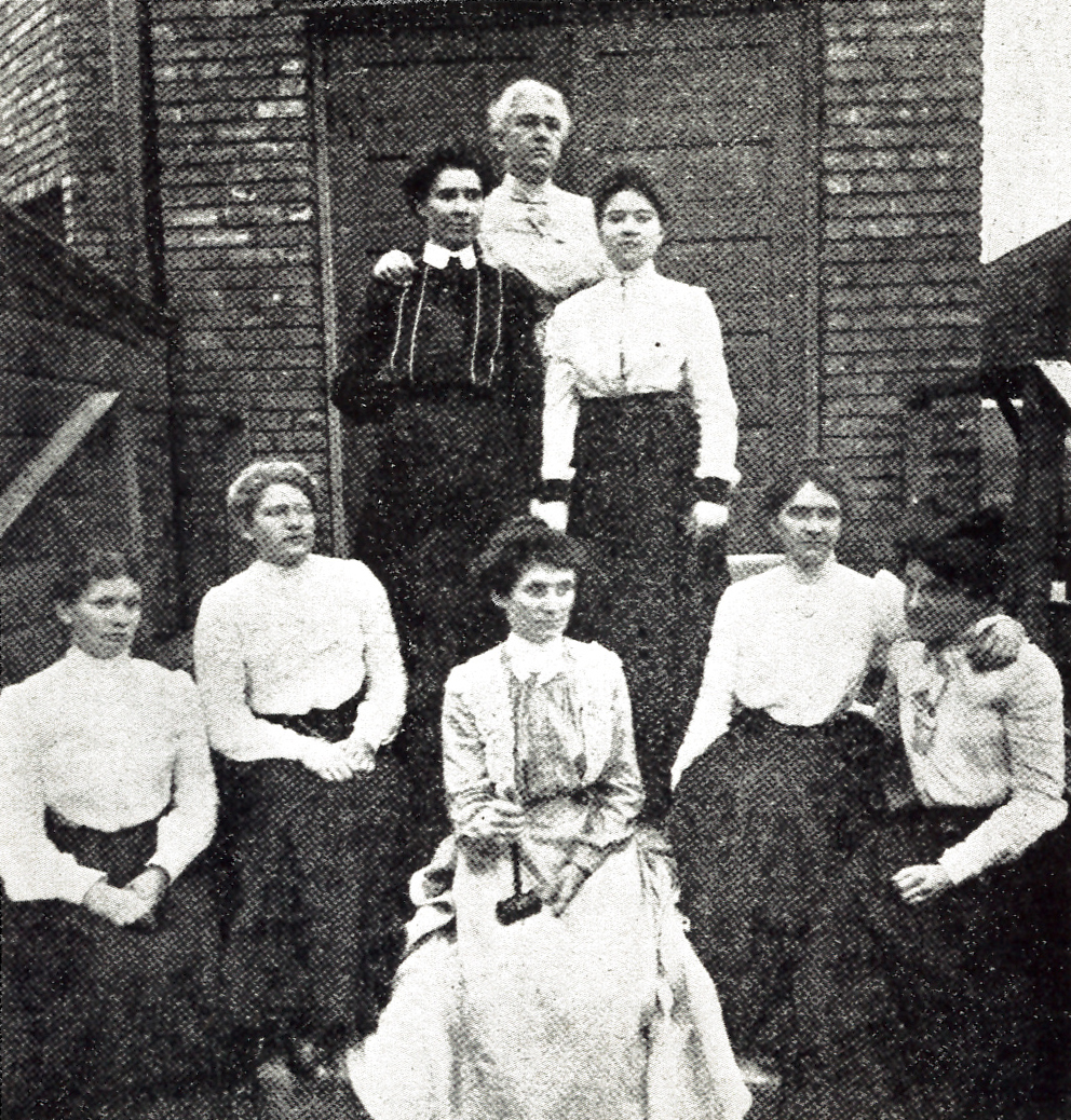 Officers of Local No. 183 of the Amalgamated Meat Cutters and Butchers' Workmen of North America, the first union of women workers of the Union Stock Yards in Chicago. 1902