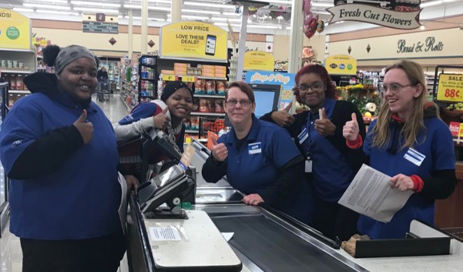 Local 700 workers at Kroger celebrate their newly ratified contract