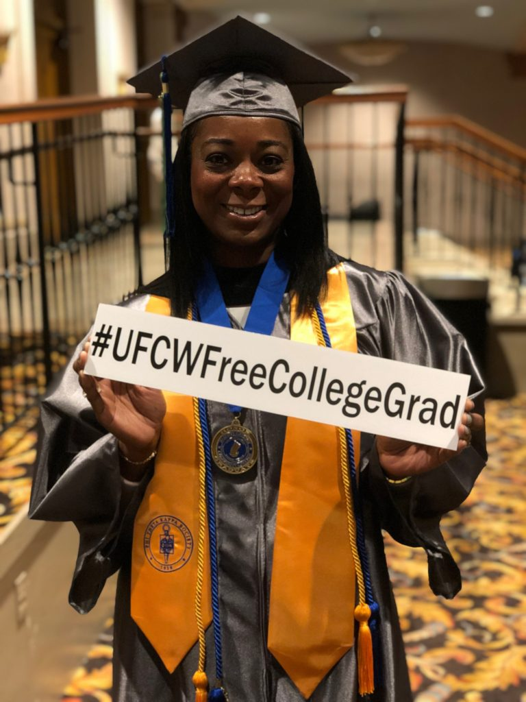 LaTrice Duncan, UFCW Free College Graduate in her cap and gown