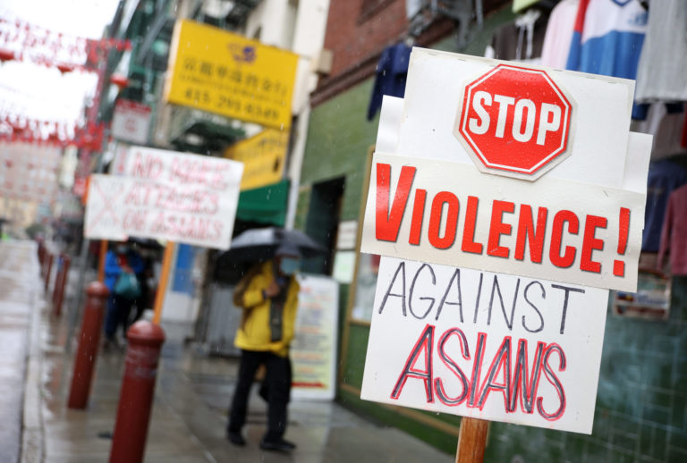 Stop Violence against Asians sign