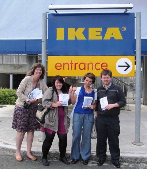 Participants in today's Day of Global Solidarity with IKEA workers show their support in Dublin, Ireland.