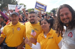 The four UFCW activists arrested yesterday.