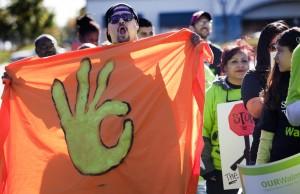 Walmart workers demonstrate