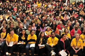 UFCW Local 400 Giant and Safeway grocery workers gathered at the D.C. Armory and voted to ratify a new contract.