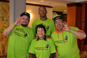 Dolores Huerta with Walmart workers during the Ride for Respect in summer of 2013