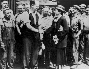 Francis Perkins meets with Carnegie steelworkers
