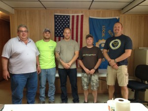 Eighty workers at the CertainTeed drywall plant in West Virginia, voted to have a union voice and joined UFCW Local 45C. Pictured left to right: Ron Moore, Andrew Gaiser, Josh Mazey, Carl  Sweeney, Lance Heasley.