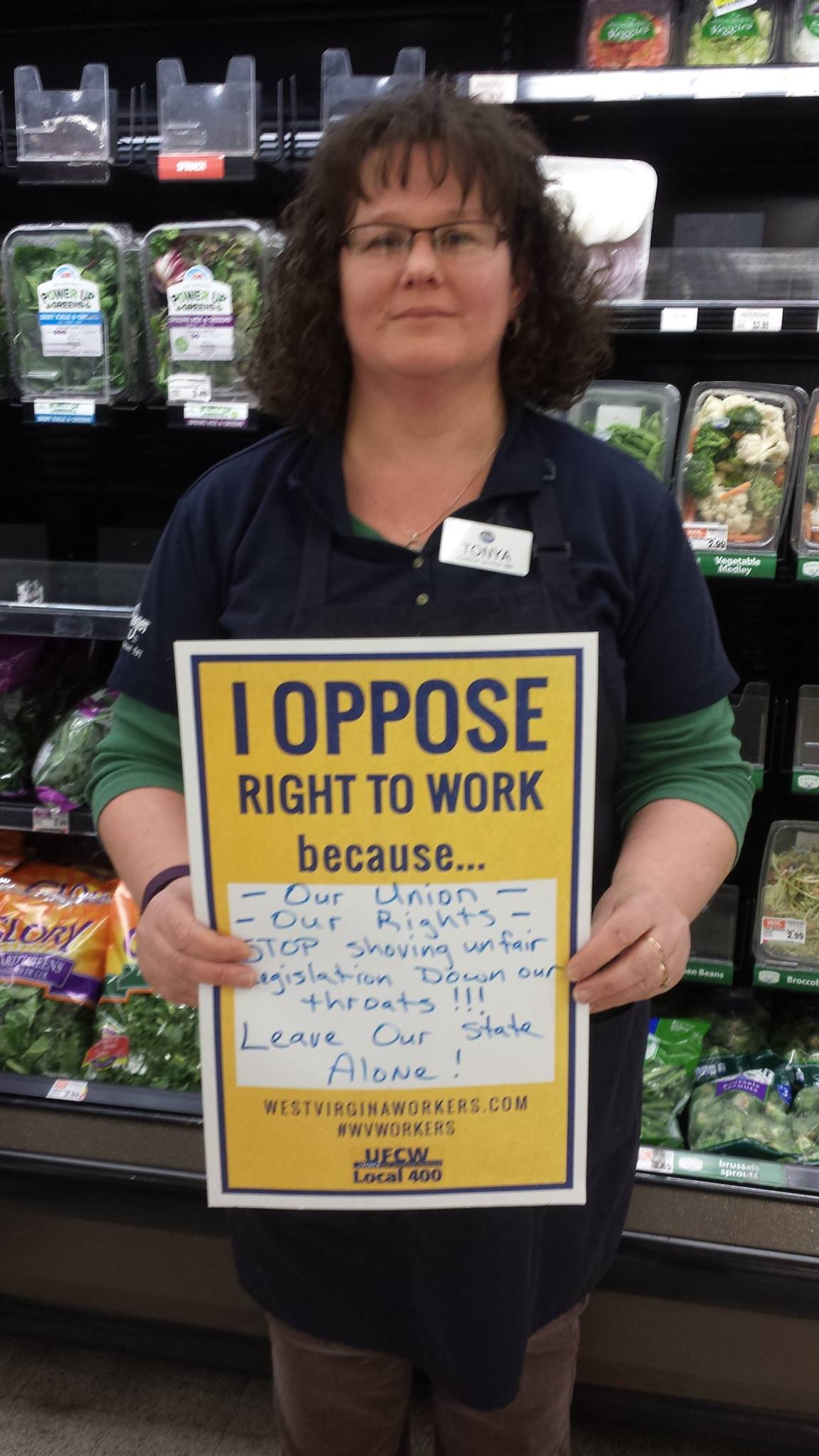 One of the many Local 400 members who voiced why she opposed Right to Work legislation in West Virginia